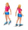 Roller Skating girl Full length portrait a vector image