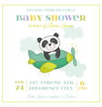Baby Shower or Arrival Card - Baby Panda in Plane vector image vector image