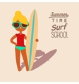 blonde surfing girl vector image