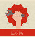 colorful poster with zigzag lines of happy labor vector image
