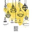 flyer with modern edison loft lamps vintage vector image