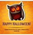 Happy halloween greeting card with brown owl vector image