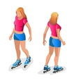 Roller Skating girl Full length portrait a vector image