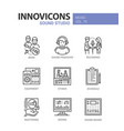 sound studio - line design icons set vector image