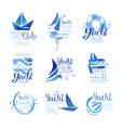 yacht club since 1969 logo original design set vector image