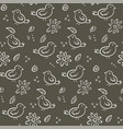 cute monochrome pattern with birds and flowers vector image