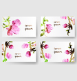 Watercolor floral background cards vector image