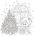 Girl and Christmas gift vector image vector image