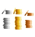 Stacks of gold silver and bronze coins vector image vector image