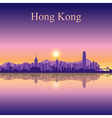 Hong Kong silhouette on sunset background vector image