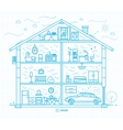 Flat big house silhouette blue vector image