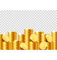 a lot of coins on a transparent background vector image