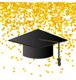 black graduation cap on confetti background vector image