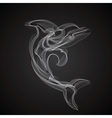 Dolphin silhouette on a black background vector image