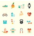 Fitness and health icons with white background vector image