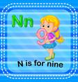 flashcard letter n is for nine vector image