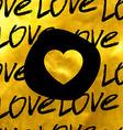 golden hand drawn heart vector image