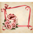 Retro holiday background with pink roses and gift vector image