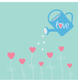 Water can and flowers in shape of heart Love card vector image