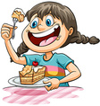 A girl eating a cake vector image