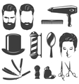 Barber Black White Vintage Icons Set vector image