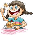 A girl eating a cake vector image