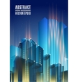 Blue city skyline at night Graphical urban vector image