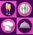 restaurant icons set flat style cooking and vector image