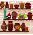 shelves with ceramic pots vector image