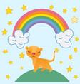 cute lion cartoon on rainbow background and stars vector image