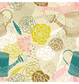 Seamless floral background with watering can vector image
