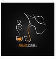 arabic coffee logo design background vector image