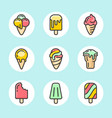 ice cream color icon set vector image