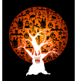 Happy Halloween full moon and spooky tree EPS10 vector image