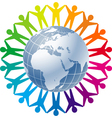 people joined around the globe vector image