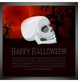 Big halloween banner with white human skull on vector image