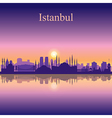 Istanbul silhouette on sunset background vector image vector image