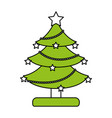 color silhouette image of decorated christmas tree vector image