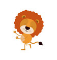 colorful caricature with cute lion dancing vector image