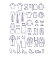 Female and male casual clothes garment outline vector image