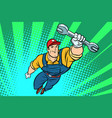 male repairman with a wrench flying superhero vector image