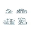 Line houses icon set vector image