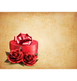 Retro background with beautiful red roses and gift vector image