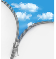 Abstract background with zipper and cloudy sky vector image vector image