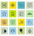 set of 16 eco-friendly icons includes fire banned vector image