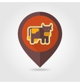 Cow flat mapping pin icon with long shadow vector image