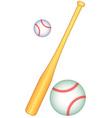 Baseball bat and balls vector image vector image