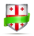 Shield with flag Georgia and ribbon vector image