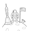Astronaut with a flag on moon Space rocket ship vector image
