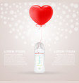 baby milk bottle with red baloon in shape of heart vector image